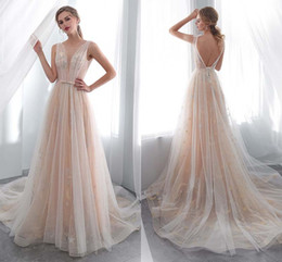 China Elegant Dresses O Neck Open Back See Through Top A Line Lace Long Wedding Party Bride Dresses Women Wedding Gowns HY4189 supplier brides see through wedding dresses suppliers