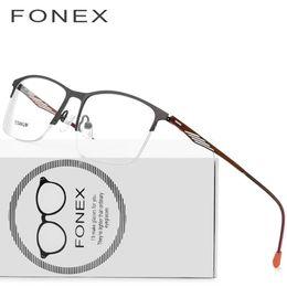 07f42096599 Titanium Glasses Frame Men Square Prescription Eyeglasses 2018 Male Semi  Rimless Myopia Optical Frames Korean Screwless Eyewear 8836