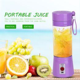 plastic bottles lids juice 2019 - Portable 380ml USB Electric Fruit Juicer Handheld Smoothie Maker Blender Rechargeable Mini Portable Juice Water Bottle d