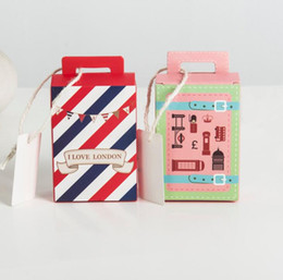 Wholesale Boxes Packaging Australia - Mini Suitcase paper Candy Box Cookie Sweet Gifts bag Chocolate package for Wedding baby shower birthday christmas Favors
