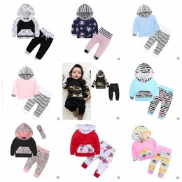 Discount kids floral hoodies - Christmas Baby Clothing Boys Striped Hoodie Set Girls Floral Print Suit Long Sleeve Tops Pants 2 Pcs Outfits Kids Design