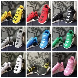 Wholsale sports online shopping - Wholsale Pharrell Williams X NMD Human Race NMD Runing shoes Women Men Sports Shoes Athletic Outdoor Shoes Yellow Blue