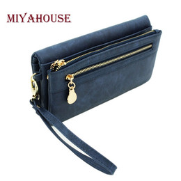 Wholesale Wrist Zipper Wallet Australia - Miyahouse Fashion PU Leather Wallet Female Multifunction Long Design Women Clutch Wallet With Wrist Band Coin Purse Lady