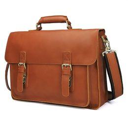 $enCountryForm.capitalKeyWord UK - Nesitu Brown Durable Thick Vegetable Tanned Genuine Leather Men's Briefcase Portfolio 14'' Laptop Men Messenger Bags M7105