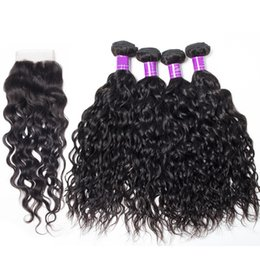Dyeing Hair Black Australia - 4 Bundles With Lace Closure 5pcs lot Mink Brazilian Water Natural Wave Unprocessed Jet Natural Black Color virgin Water Natural Wave Hair