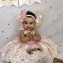 $enCountryForm.capitalKeyWord NZ - Lovely Baby Toddler Birthday Dress Jewel Neck Bows Lace Applique Tulle Ankle Length Flower Girls Dress Sparkly Sequins First Communion Gowns