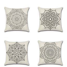 C Cases online shopping - Mandala Bohemia Pillows Covers Flax Cushion Cover Soft Vintage Style Pillow Case For Bedroom Sofa Decoration kh C RZ