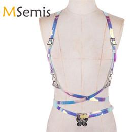 Multi strap suspenders online shopping - Women PVC Punk Harness Waist Belt Adjustable Hologram Rainbow Body Bondage Harness Top Cage Waist Belt Straps Suspenders