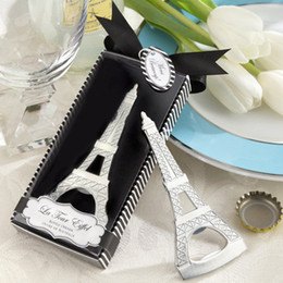 bottle boxes packaging Canada - Free shipping creative novelty items the eiffel tower bottle opener wedding favors gift box packaging W7573