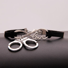 handcuffed bracelet Australia - Handmade Infinity Love Handcuffs Pendant Bracelet Bangle Band for Women Men Black Leather Suede Jewelry Punk Style 2018 New Arrival bileklik