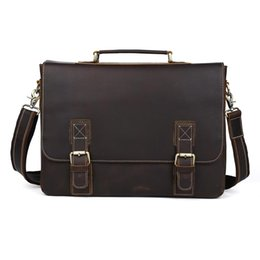 Discount 16 inches laptop - TIDING Large Leather Briefcases 16 inch Laptop Bag Cowhide Leather Vintage Style Cross body Shoulder Bag P8069