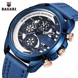 Discount japan movement watches - man wristwatches waterproof Men watches BAGARI brand sports blue genuine leather quartz calendar week men's clock J