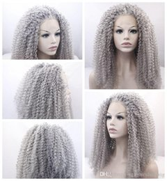 $enCountryForm.capitalKeyWord Australia - New Sexy Style Gray curly long wigs for black women heat resistant synthetic lace front wigs with baby hair fast shipping high quality