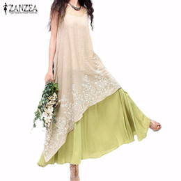 63d5b930b95c Wholesale- ZANZEA Women Summer Long Maxi Dress 2017 Ladies Casual Loose O  Neck Short Sleeve Floral Embroidery Two Layers Vintage Vestidos