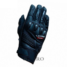 Short Motorcycle Leather Gloves NZ - 2018 New 100% Genuine Leather Carbon Fiber Motorcycle Gloves Racing Team Driving Motorbike Short Original Touch Screen Gloves