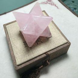 $enCountryForm.capitalKeyWord NZ - Free shipping 4cm Big size Natural Rose Crystal Quartz Points Merkaba Stars Gemstone Great for Meditation Healing Feng Shui Home Decoration