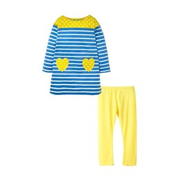 ChoColate Colour dresses online shopping - Kids Girl Suit Set Striped Long Dress T Shirt With Yellow Heart Shaped Pocket Yellow Long Legging Tights Pants