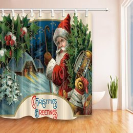 Shower Bath Curtain Waterproof Creative Design Santa Claus Snowman And Other New Mail