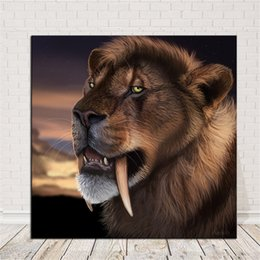 Bedroom Painting Portraits Australia - 1 Pcs Lions Portrait Wall Poster Printed Painting Home Decorative Wall Art Picture For Bedroom Living Room No Frame