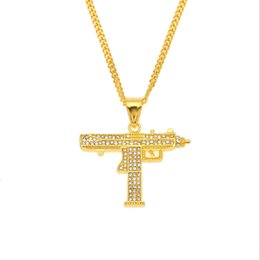 $enCountryForm.capitalKeyWord UK - Europe and America Cool Men Necklace Gold Plated Rhinestone Gun Pendant Necklaces for Men Women Hip Hop Jewelry