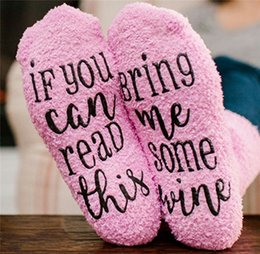$enCountryForm.capitalKeyWord NZ - Women Winter Socks IF YOU CAN READ THIS Bring Me Some Wine coffee Letter Christmas Socks Pink girls Stockings Funny Floor Sock Adults Gift