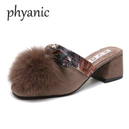 $enCountryForm.capitalKeyWord Canada - Green Brown autumn winter Fur Women Slippers High Heel fashion furry female round Toe casual slippers with Thick heels Shoes