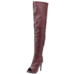 hot sexy thigh high boots UK - Kolnoo Ladies High Heel Thigh-high Boots Autumn Peep-toe Sexy Booties Large Size Hot Sale Over Knee Shoes Fashion Party Boots N045