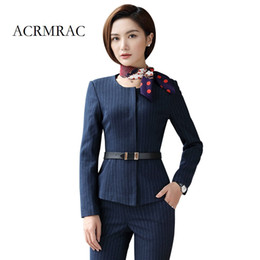formal business skirts 2019 - ACRMRAC Women Long sleeves stripe Slim jacket Skirt set OL Formal Skirt Suits Business suit cheap formal business skirts