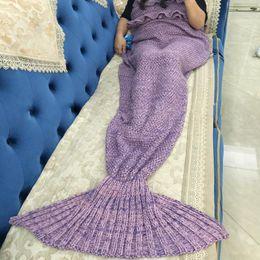 $enCountryForm.capitalKeyWord Canada - Mermaid Blanket Adult Knitted Sleeping Bag Sofa Falbala Mermaid Tail Bed Throw 4 colors