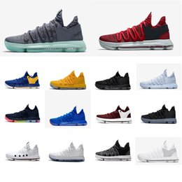 a393f38489250f Cheap women kd 10 basketball shoes for sale low cut Red Black White BHM Boys  Girls Children Kids Kevin Durant x sneakers kds boots with box