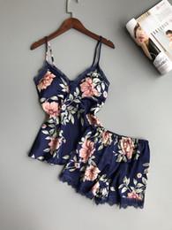 $enCountryForm.capitalKeyWord Canada - Women Sleepwear Lounge Pajama Sets Sexy Satin Nightwear Women Summer Pyjama Female Flower Pajamas For With Chest Pad