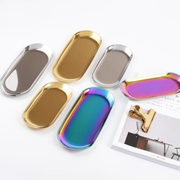Orange chic online shopping - Nordic chic metal stainless steel Tray Storage brass oval storage tea tray gold silver Gradient color popular product decoration
