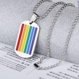 rainbow titanium jewelry 2018 - Bulk Lots Rainbow Flag Gay Titanium Pendant Hip Hop Designer Jewelry Choker Iced Out Chains Mens Stainless Steel Jewelry