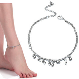 Chinese  New Women Gril Tassel Chain Bells Sound silver Metal Chain Anklet Ankle Bracelet Foot Chain Jewelry Beach Anklet drop ship 320131 manufacturers