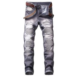 man style slim long pants 2019 - Mens Vintage Draped Jeans Multicolored Hip-Hop Skateboard Biker Jeans Long Straight Pants Skinny Fit Slim jeans discount