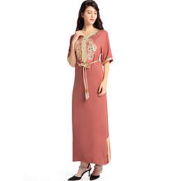Femmes musulmanes à manches longues robe longue islamique vêtements kaftan  caftan marocain maxi   longue robe ethnique turque Abaya style hijab eb0615fb991