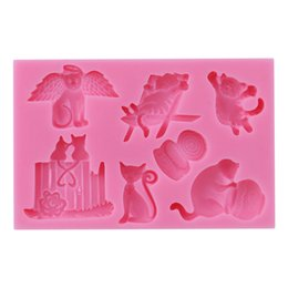 cartoon silicone mould Australia - 3D Cartoon Cat Fondant Silicone Moulds Chocolate Cake Decorating Tools Chocolate Decoration Eco-friendly DIY Baking Tool Moulds