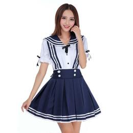 51b9a9ef5 New Japanese School Uniform Cosplay Costume Anime Girl Maid Sailor Lolita  Dress Striped Blue Shirt + skirt Sailor Suit
