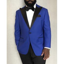 $enCountryForm.capitalKeyWord Canada - Royal Blue Wedding Men Suits for Groom White Peaked Lapel Latest Style Blazer Jacket Black Pants Male Clothing