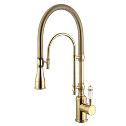 $enCountryForm.capitalKeyWord UK - ROLYA New Arrival Rolya Premium Luxurious Golden Plate Gooseneck Pull Down Kitchen Faucet Spring Sink Mixer Tap
