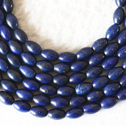 rice shaped beads Canada - DIY semi-finished products excellent quality Natural Lapis lazuli stone 8x12mm rice barrel shape loose beads 15inch