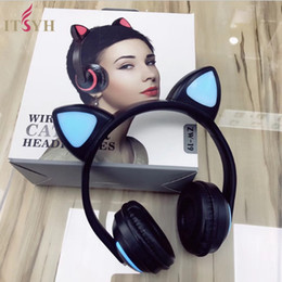 Discount cat mobiles - ITSYH LED Glowing Cat Headphones Game for PC laptop mobile phone wireless bluetooth headset Folding Flashing headphones