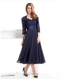 China 2018 New Tea-length 3 4 Length Sleeve Chiffon Lace with Lace A-line Mother of the Bride Dress vestidos de novia supplier navy blue dress suit suppliers