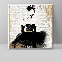 art deco canvas prints Canada - Modern Abstract Hand Painted & HD Print Wall Art Oil Painting Ballet Girl Home Deco On High Quality Canvas Multi Sizes g191