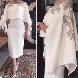 2018 Arabic Sheath Short Evening Dresses Sheer Mesh Top Capped Lace  Applique Beaded Tea Length Formal Party Prom Gowns Dresses 8253ce5c864d