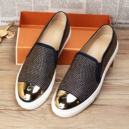 Hot Selling Mens Causual Comfort Shoes Suede leather Rivets Charm Luxury Slip On Flats Black Darkbue Loafer Shoes