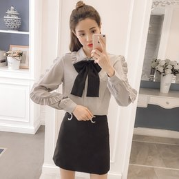chiffon fan 2019 - 2018 New Spring Women Shirts Bow Loose Full Sleeve Chiffon Han Fan Organ Pleated Blouse Shirt Gray 3216 cheap chiffon fa