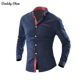 Discount polka dot dress shirts for men - Dress shirt men slim fit style male for boys Wave Point Polka Dot Casual shirt mens long sleeve Grid Classic designer Br