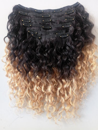 Natural curly weave styles online shopping - Wholesales Brazilian Human Hair Vrgin Remy Hair Extensions Clip In Curly Hair Style Natural Black b Blonde Ombre Color