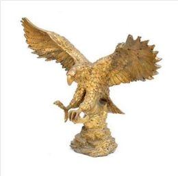 23 CM China Pure Bronze Copper Animal Bird Lanneret Hawk Eagle Falcon Sculpture